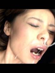 Natsumi takes several cum facials while toyed